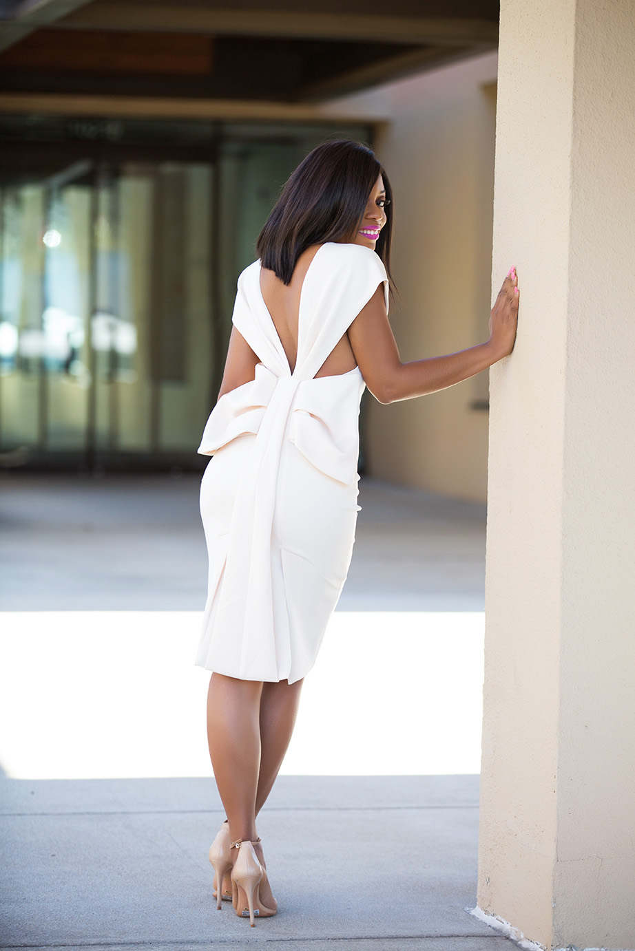 Bow back off the shoulder midi dress, www.jadore-fashion.com