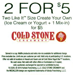 graphic regarding Cold Stone Printable Coupon known as Chilly stone ice product coupon 2019