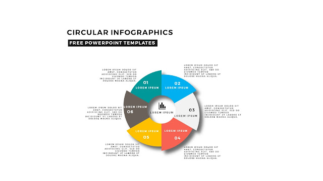 Circular Infographics Free PowerPoint Template with 6 steps