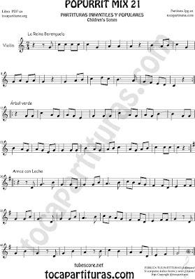 Partitura de Violín La Reina Berenguela, Árbol Verde y Arroz con Leche Mix 21 Sheet Music for Violin Music Scores Music Score