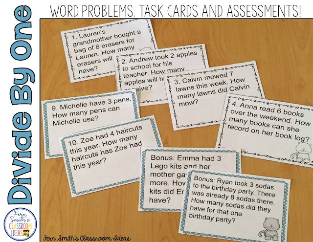 Word Problems For Dividing By One From Fern Smith's Classroom Ideas Available at TeacherspayTeachers.