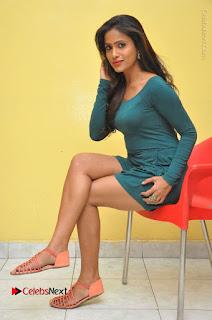 Telugu Actress Prasanthi Stills in Green Short Dress at Swachh Hyderabad Cricket Press Meet  0096.JPG
