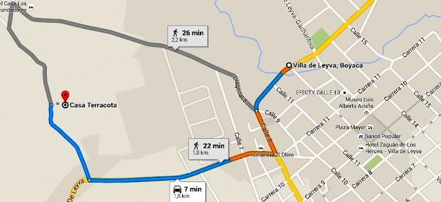 Mapa de acesso à Casa Terracota, em Villa de Leyva, Colômbia