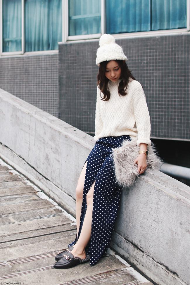 ファッションブロガー日本人,Mizuho K,今日のコーデ,Zara_ハイネックニットセーター,Yoins_スリット入りドット柄ワイドパンツ,ReEdit_ローファー風ミュール,フェイクファークラッチバッグ,ポンポンビーニー,カジュアルシック楽ちんコーデ
