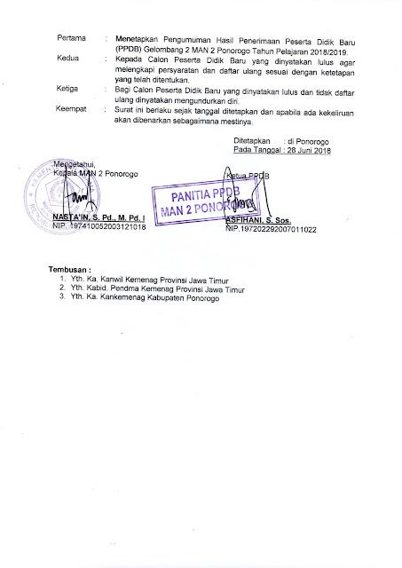 Pengumuman Hasil Seleksi PPDB MAN 2 Ponorogo Gelombang 2 Tahun Ajaran 2018/2019