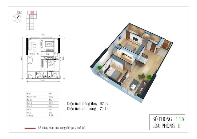 Thiết kế căn hộ số 11A: 67,02m2