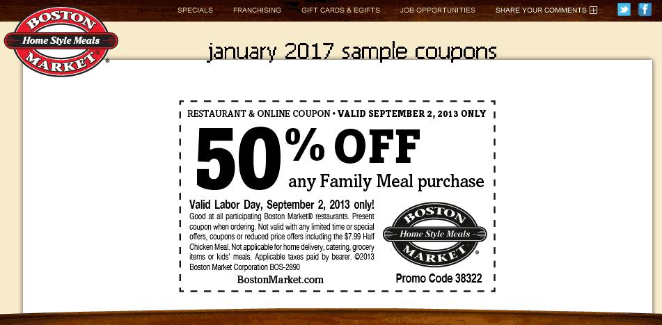 Boston market coupons december 2018