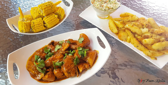 Mochachos Saucy Grilled Chicken, saucy grilled chicken, grilled chicken, chicken recipe, spicy food, food, food blog, food pictures, food recipe, pinterest, pinterest food, mochachos, spicy fusion kitchen, coldslaw, corn on a cob, potato wedges, family meal