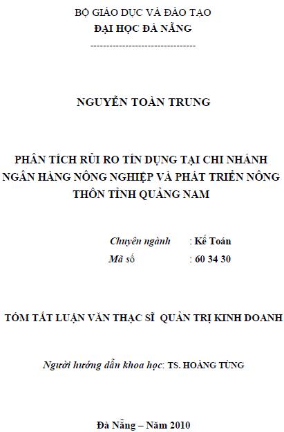 Phân tích rủi ro tín dụng tại chi nhánh ngân hàng Nông nghiệp và Phát triển nông thôn tỉnh Quảng Nam