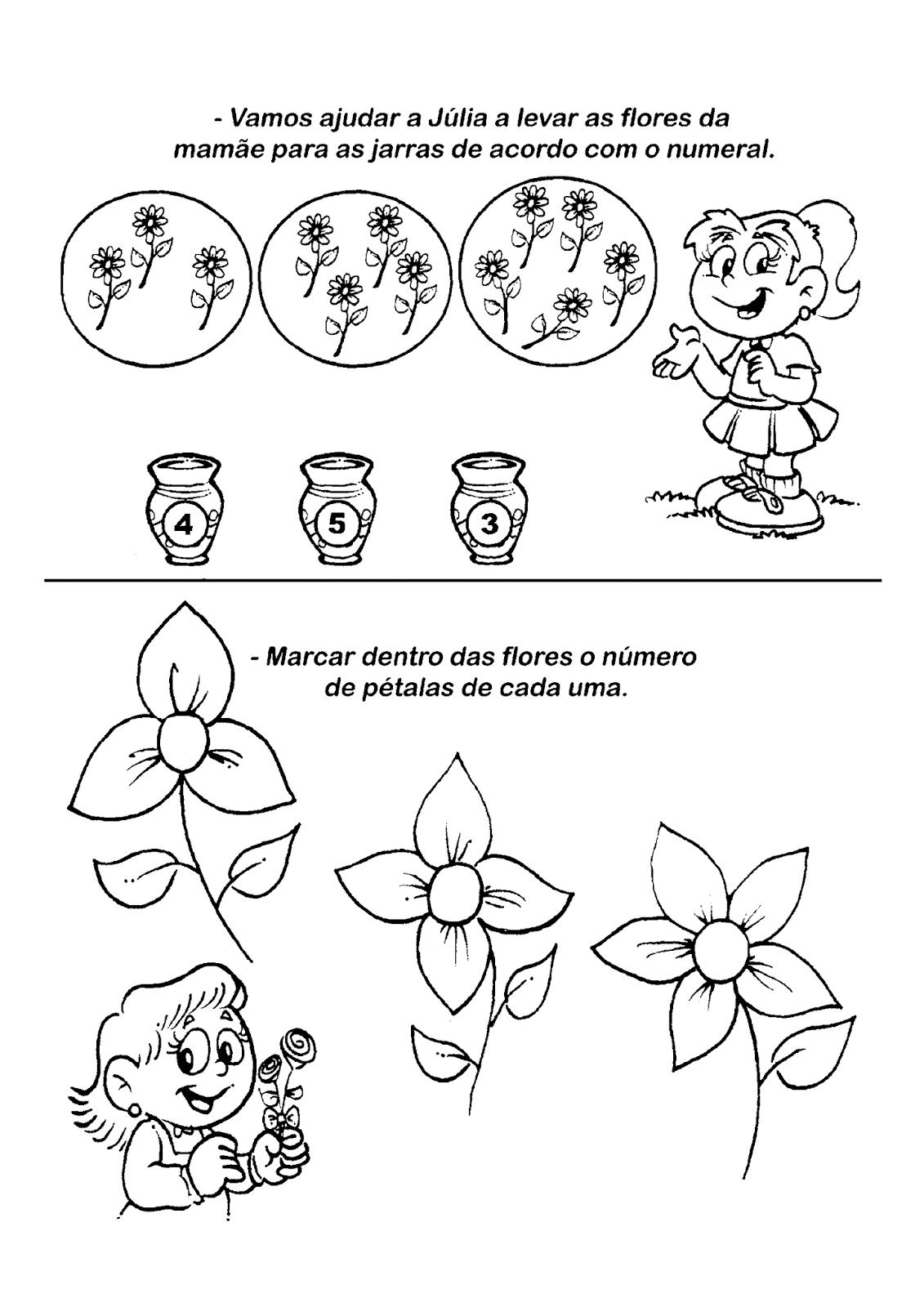 Atividade para o Dia das Mães com numerais  – Vamos ajudar a Júlia a levar as flores da mamãe para as jarras de acordo com o numeral.-Marcar dentro das flores o número de pétalas de cada uma.
