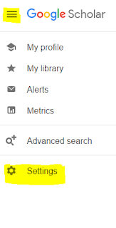 Google Scholar browser showing the menu (three horizontal lines) and select the settings option