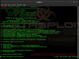 wpscan -u (url target) --enumerate t