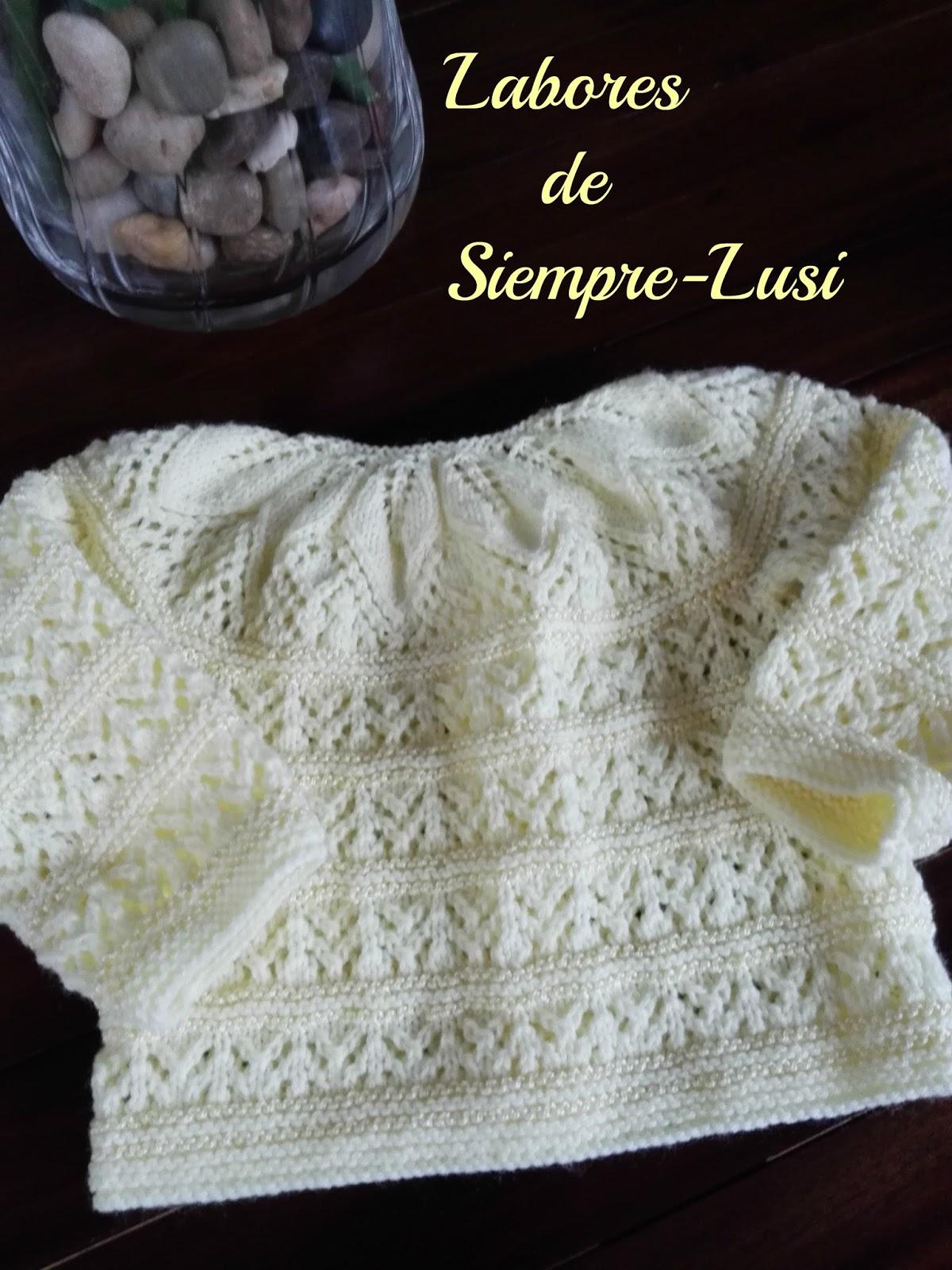 Labores de siempre jersey bebe con canes de hojas patucos - Labores de punto de lana ...