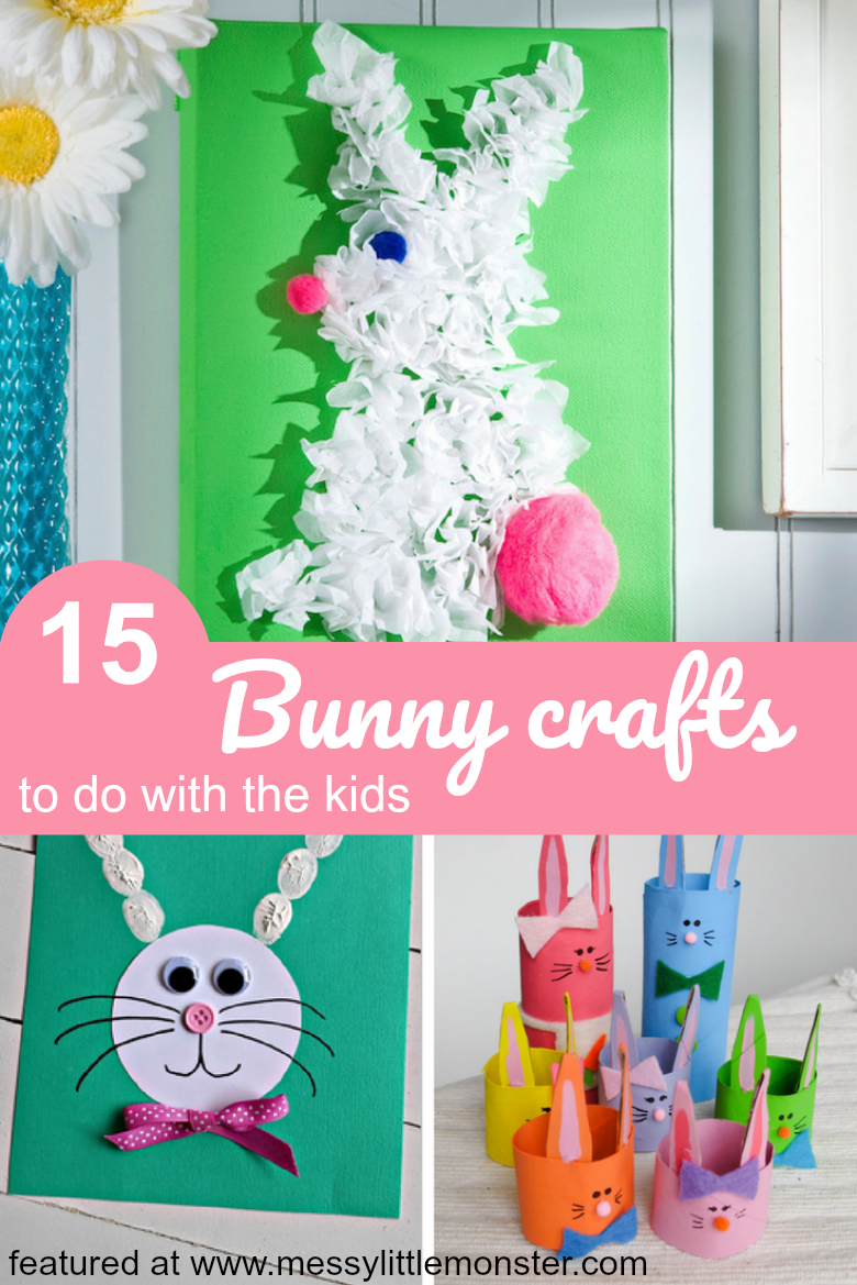 15 adorable Easter bunny crafts for kids.  Fun bunny rabbit craft ideas for toddlers, preschoolers and older kids