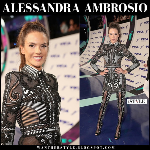 Alessandra Ambrosio in sheer black lace mini dress and black lace legging boots balmain vma red carpet august 27 2017