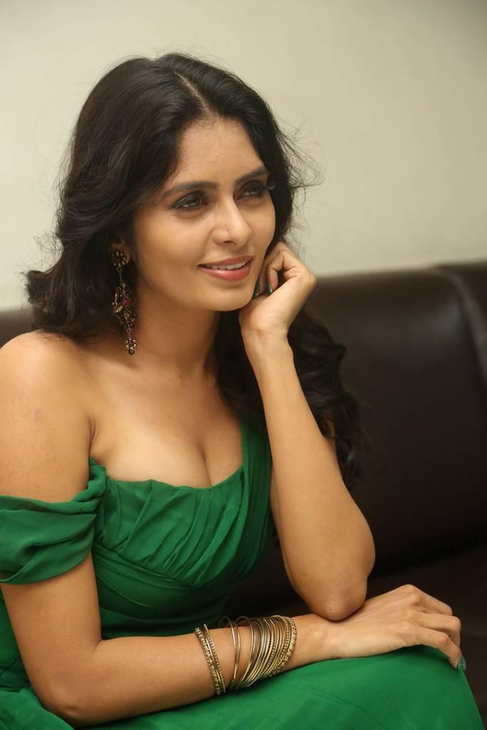 Madhumitha Krishna In Emerald Green Gown Sexy Stills