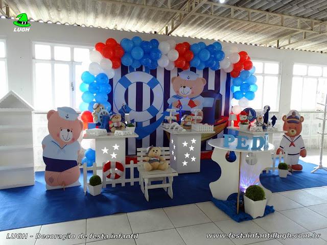 Decoração infantil Ursinho Marinheiro - Festa de aniversário ou chá de bebê - Provençal simples