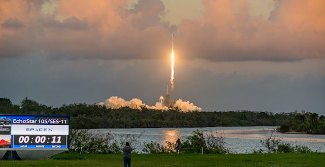 SpaceX launches the SES-11/EchoStar-105 satellite. Photo Credit: Vikash Mahadeo / SpaceFlight Insider