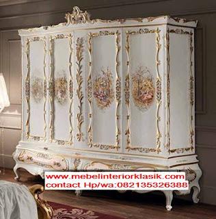 jual almari 4 pintu klasik ukiran cat duco putih,mebel interior klasik