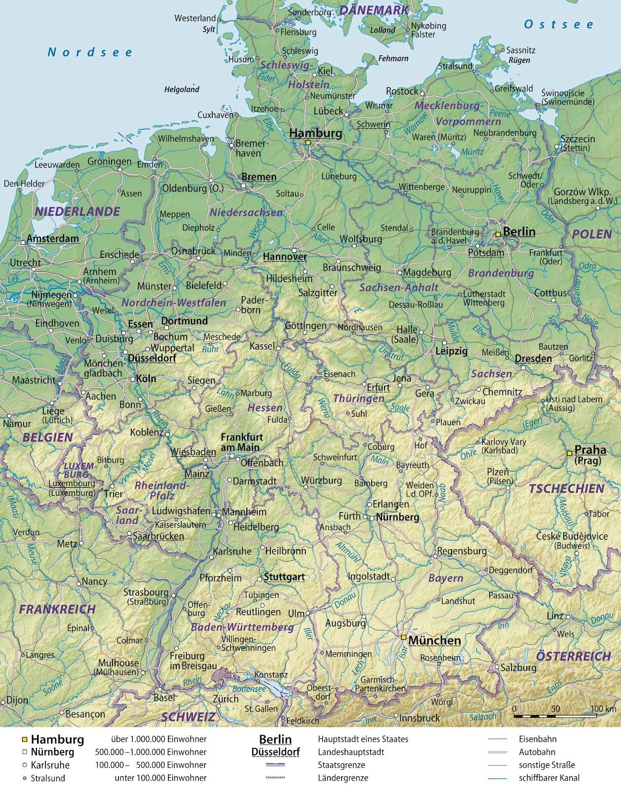landkarte deutschland physisch Physische Landkarte von Deutschland (mit Verwaltungsgrenzen