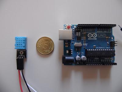 Arduino UNO R3 con DHT11 e moneta di 50 Centesimi di Euro - foto di Paolo Luongo