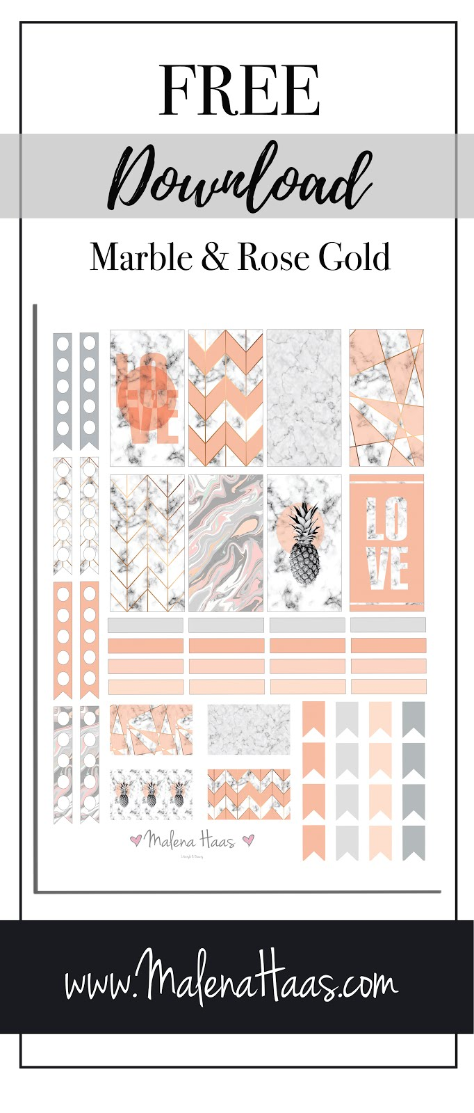 Free  Pink and Rose Gold Marble Themed Stickers for Planner - Printable Download at www.MalenaHaas.com