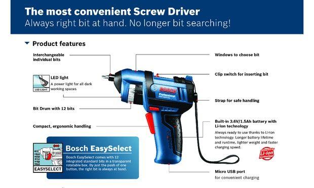 Máy vặn vít Bosch GSR BitDrive 3.6 V Professional