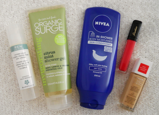 Ren hydra calm global protection day cream, Organic surge citrus mint shower gel, Nivea in shower body moisturiser skin conditioner, Guerlain maxi shine lipgloss, Revlon nearly naked foundation, May favourites, Favourites