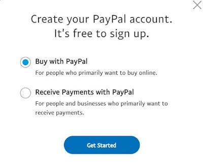 Pilihan akun paypal beli dan bayar dengan paypal