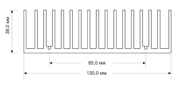 """Размеры радиатора, рекомендованного для усилителя """"Кристалл"""""""