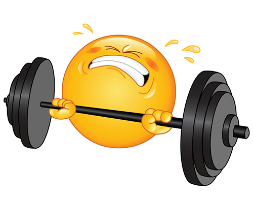 Weight-lifting smiley