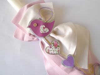 ρομαντικό σετ βάπτισης πουλάκια για κοριτσάκι λαμπάδα καρδούλες