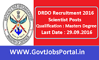 DRDO Recruitment 2016 for Scientist Posts Apply Online Here