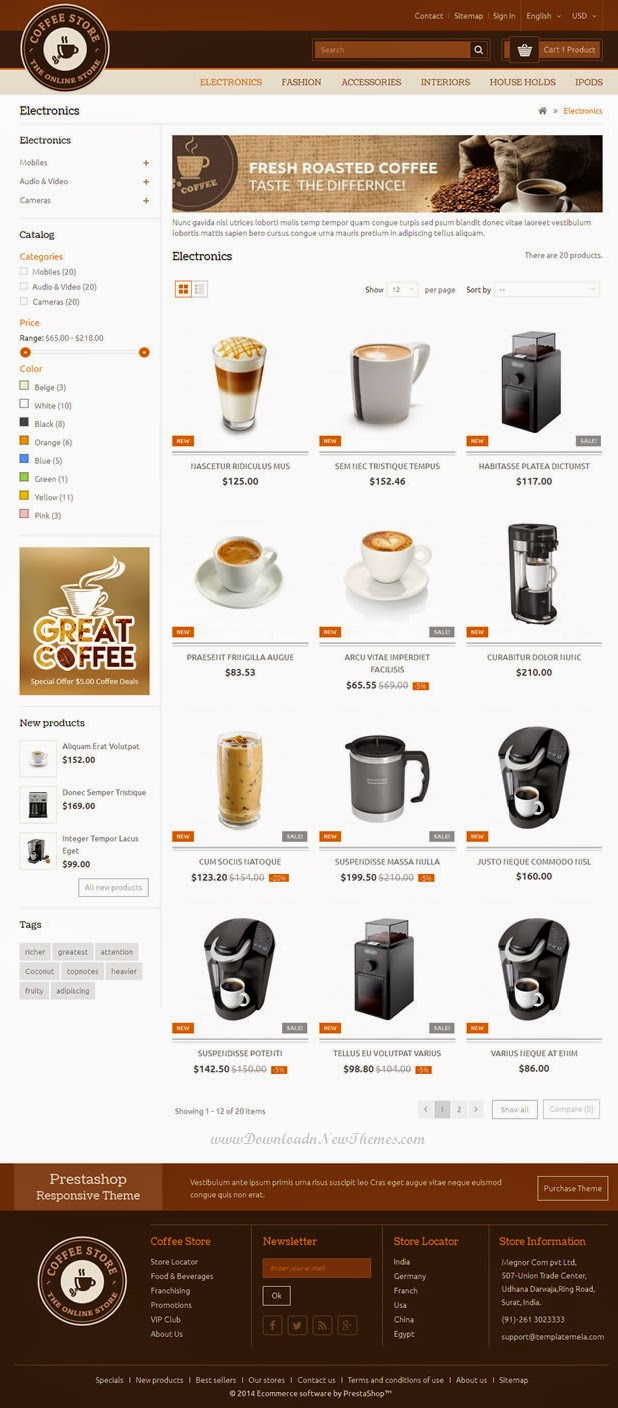 new coffee shop website template download new themes. Black Bedroom Furniture Sets. Home Design Ideas