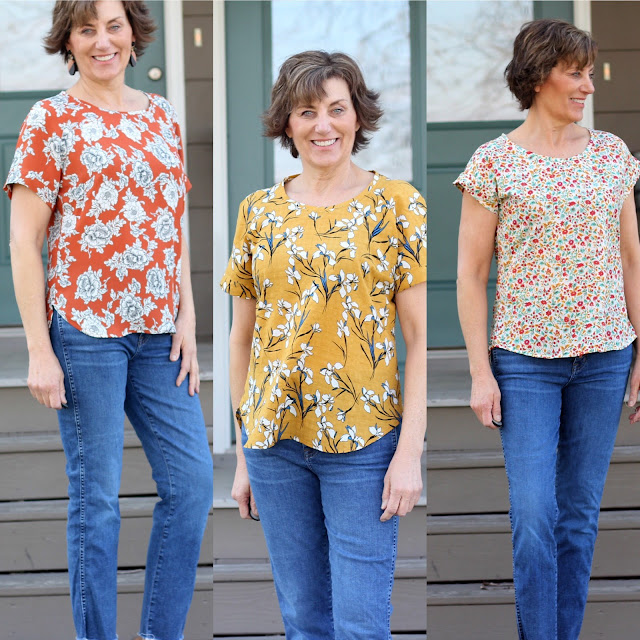 Coram tops and 5 point blouse in floral fabrics
