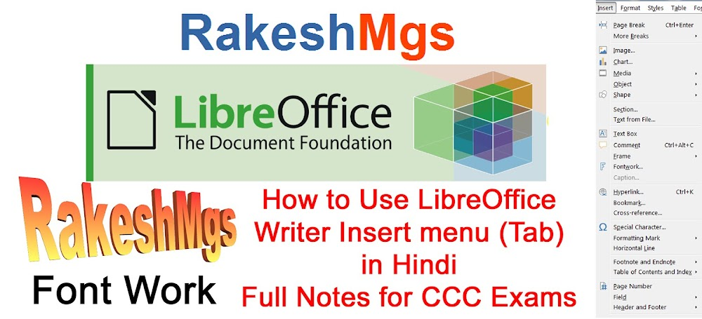LibreOffice Writer Insert menu