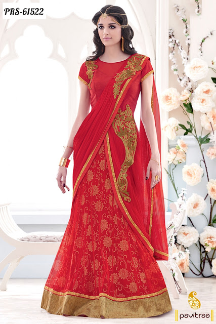 Latest fashion red color net designer lehenga saree for wedding bridal wear  collection online shopping