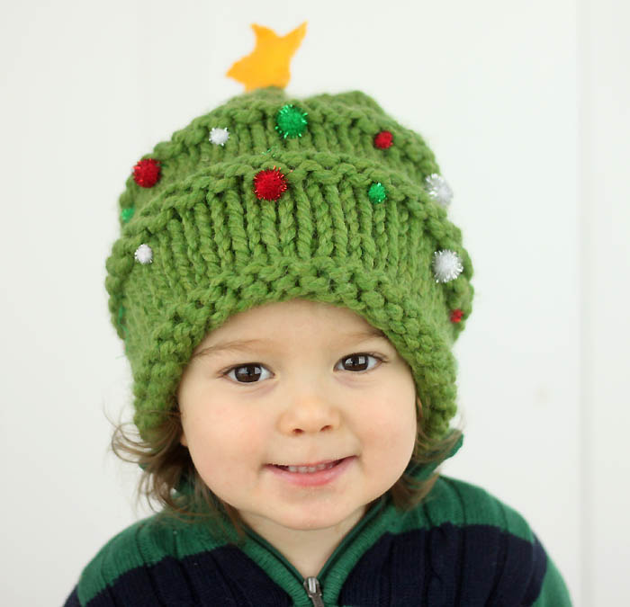 Knitting Patterns For Christmas Hats : Baby Christmas Tree Hat Knitting Pattern - Gina Michele