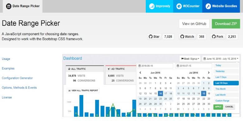 jQuery 日期時間範圍選擇器 Date Range Picker (Bootstrap 外掛)
