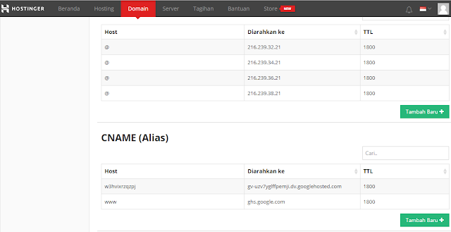 hubungkan domain hostinger ke blogspot