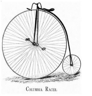 Bicicleta con rueda grande inventada al rededor de 1870.
