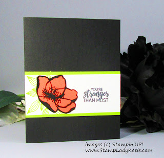 Card made with Stampin'UP!'s Beautiful Promenade stamp set, heat embossed with Memento Ink and Clear Embossing Powder
