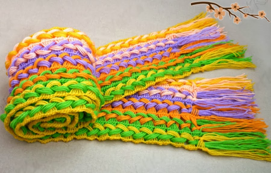 bufanda telar, punto espiga cruzada, patrones para crochet