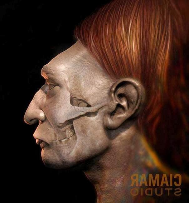 Representación de un individuo con cráneo alargado de la antigua cultura Paracas