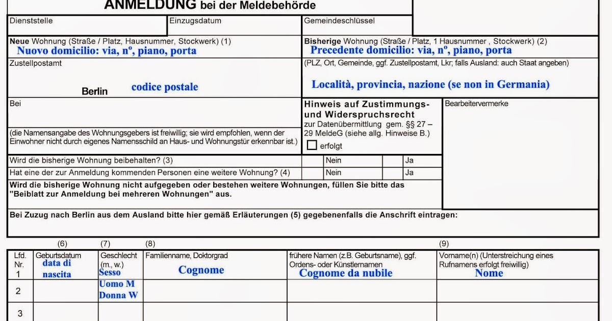 Berlino da vicino anmeldung e identifikationsnummer for Soggiorno a berlino