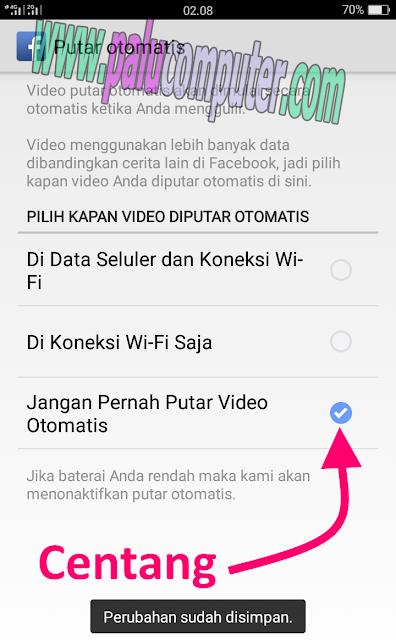 settinga facebook video terputar otomatis