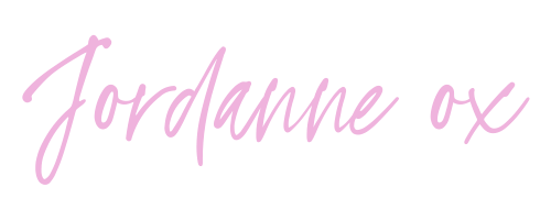 "Sign off graphic for blog post that says ""Jordanne ox"" on it, white background with pink writing."