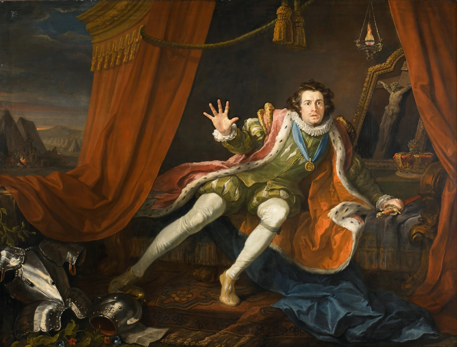 7893c7276c383 Portrait by Hogarth of Garrick as Richard III, on the restless night before  the battle of Bosworth field. Painted in 1745, only a few years after  Garrick's ...