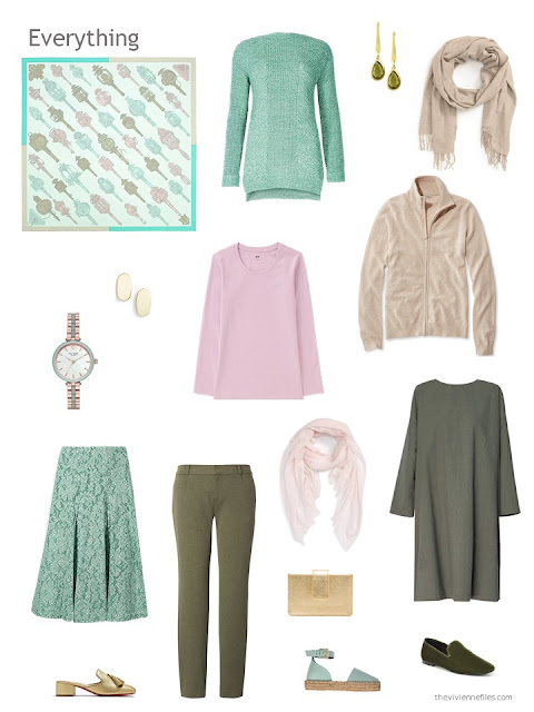 capsule wardrobe in olive with leaf green, pink and beige