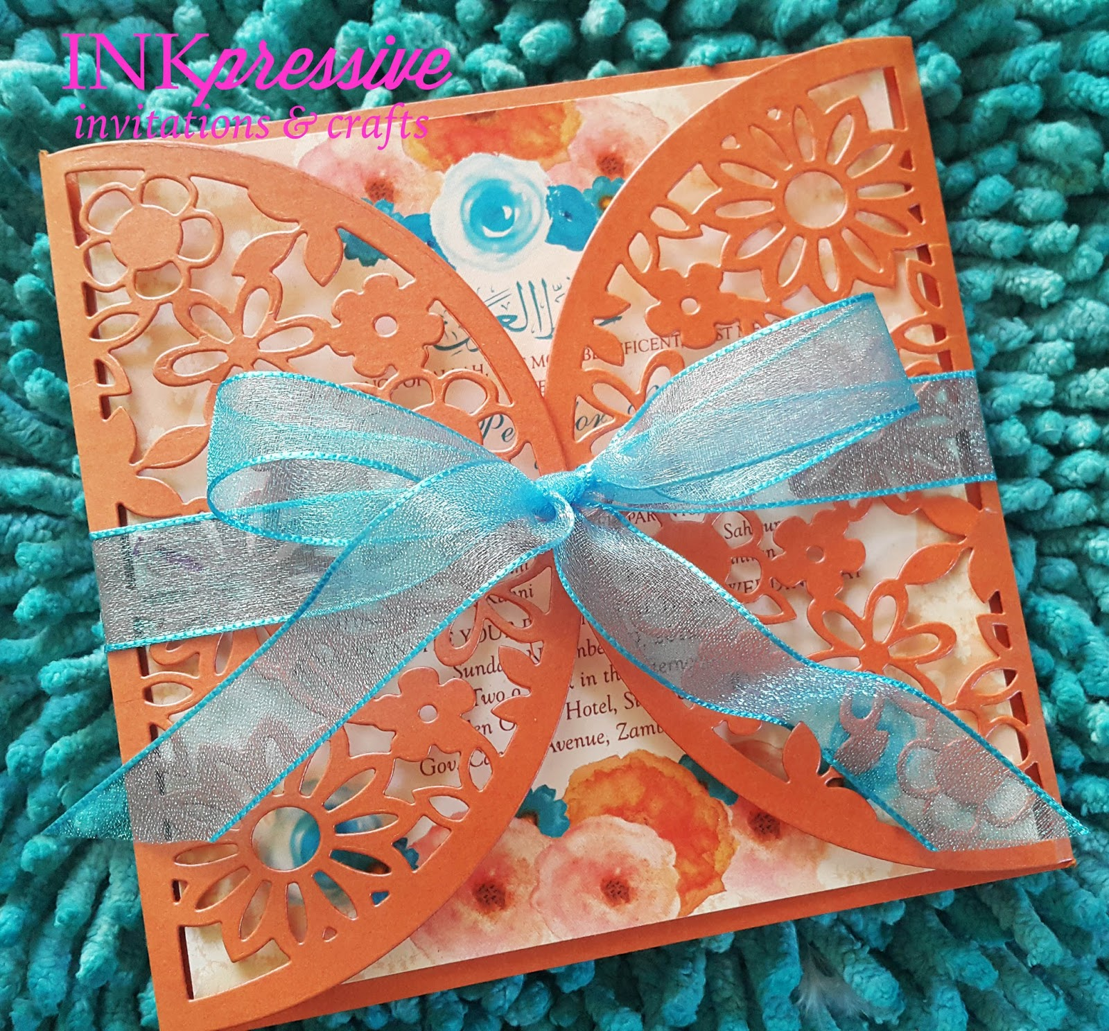For The Cards They Opted Watercolor Fls And Flower Shower Intricate Cut Envelope In Orange